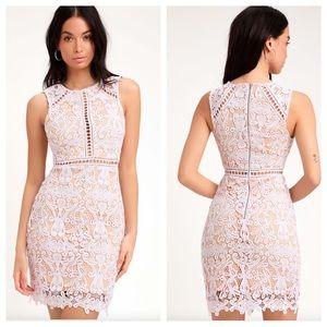 Lulu's Dream Life Lavender Lace Bodycon Dress NWOT
